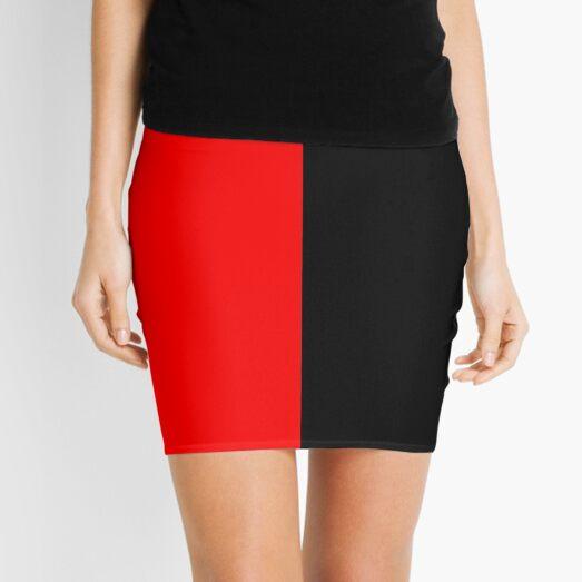 Half Black Half Red Leggings Mini Skirt