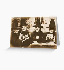 Witches Tea Party - sepia Greeting Card
