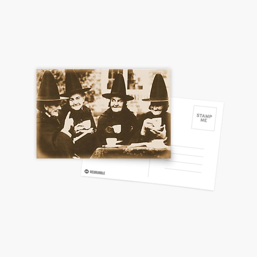 Witches Tea Party - sepia Postcard