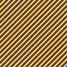 Stripes Diagonal Chocolate Brown Banana Yellow Toffee Cream by Beverly Claire Kaiya