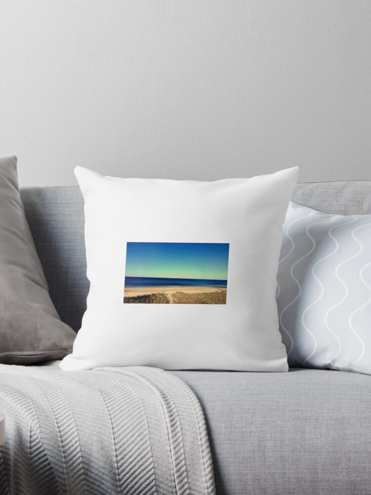 Beach shore pillow by Mary Dick