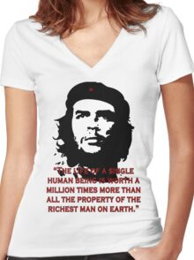 Che Guevara Quote Women's Fitted V-Neck T-Shirt