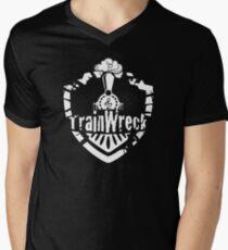 TrainWreck Full Logo White on Black Mens V-Neck T-Shirt