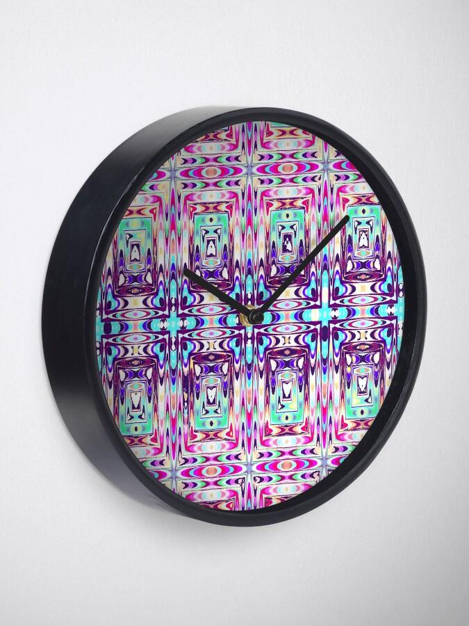 Chic Artsy Meditation Yoga Kaleidoscope Artwork Clock by Pamela Arsena