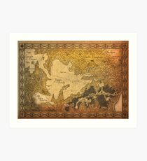 Zelda - Map of Hyrule burned details Art Print