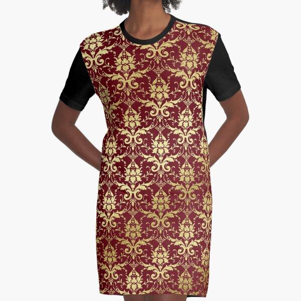 Damask Glitter Gold Classic Elegant Rosewood Graphic T-Shirt Dress