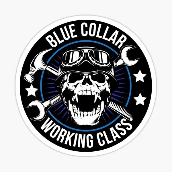 Blue Collar Working Class Skull Sticker