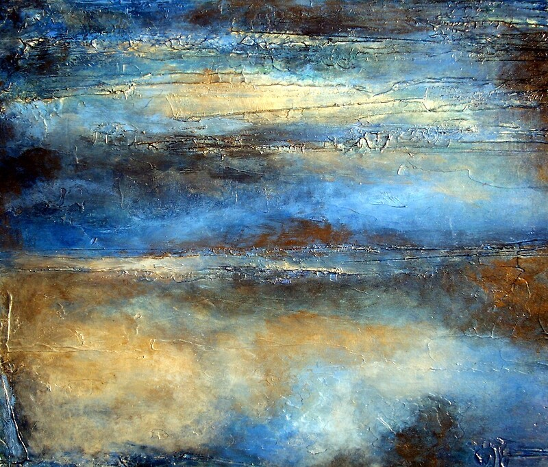 Blue Brown And Gold Abstract Painting Cloud Drifter Art Print
