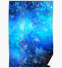 Fluid Acrylic Painting Blue and Black by Holly Anderson TRANSCEND  Poster