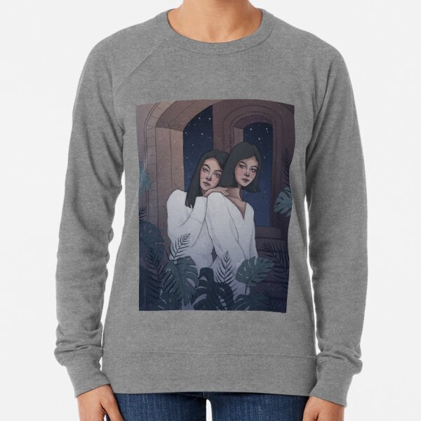 Dreamy Night Sisters Surrounded by Plants and Stars - Digital Illustration by MadliArt Lightweight Sweatshirt