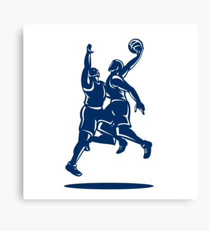 Basketball Player Dunk Block Retro Canvas Print