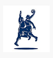Basketball Player Dunk Block Retro Photographic Print