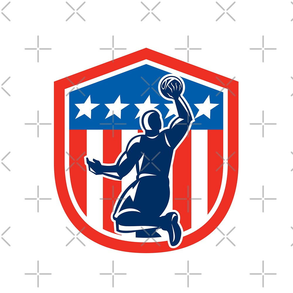 American Basketball Player Dunk Rear Shield Retro by patrimonio