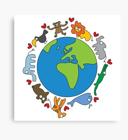 We Love Our Planet | Animals Around The World Canvas Print