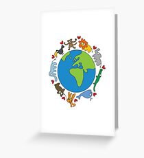 We Love Our Planet | Animals Around The World Greeting Card