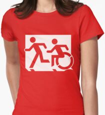 Emergency Exit Sign, with the Accessible Means of Egress Icon and Running Man, part of the Accessible Exit Sign Project Women's Fitted T-Shirt