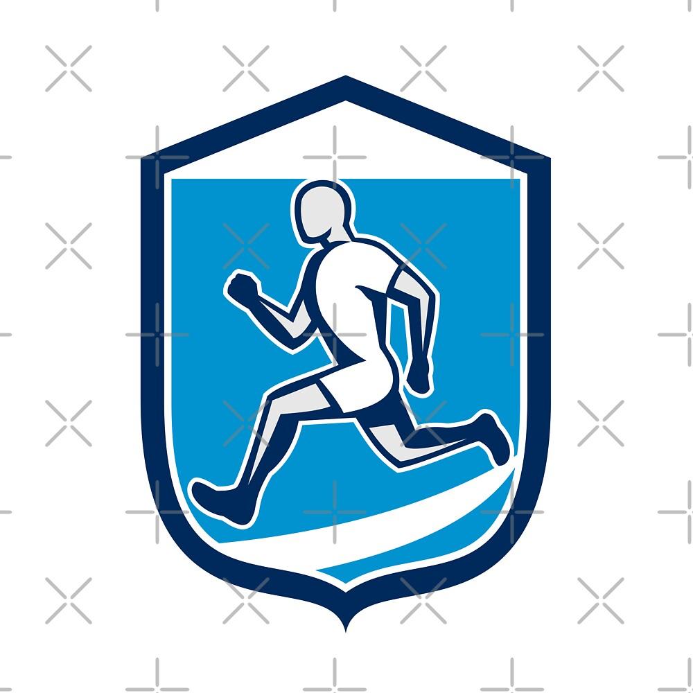 Sprinter Runner Running Shield Retro by patrimonio