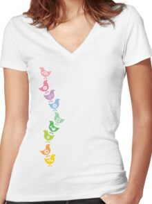 Balancing Retro Rainbow Chicks Women's Fitted V-Neck T-Shirt