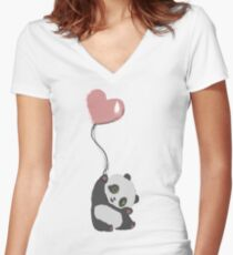 Panda And Balloon Women's Fitted V-Neck T-Shirt