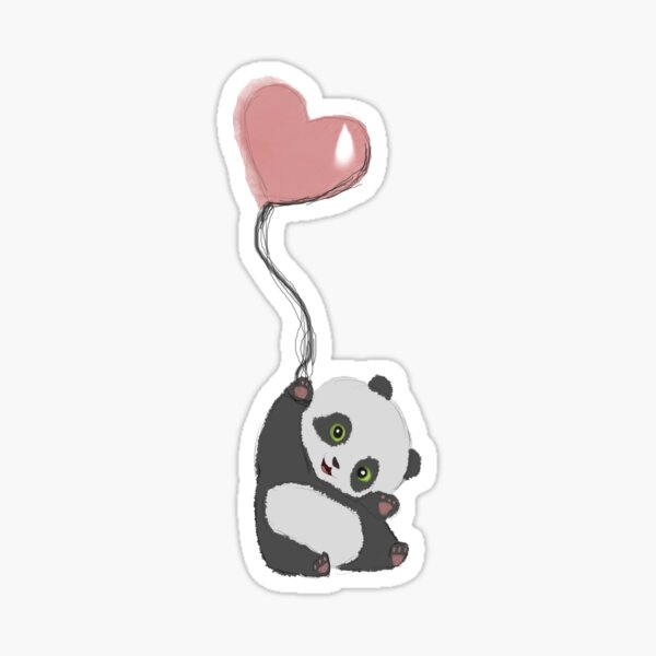 Panda And Balloon Sticker