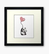 Panda And Balloon Framed Print