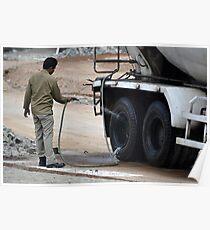man washing concrete mixer truck Poster