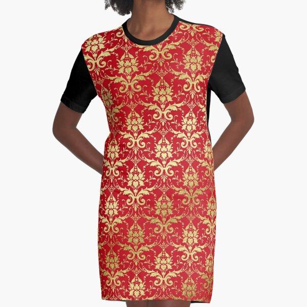 Damask Glitter Gold Venetian Red Classic Elegant Graphic T-Shirt Dress