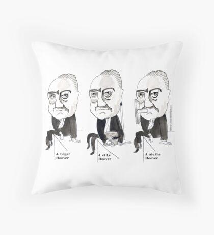 J Edgar Hoover Comic Throw Pillow