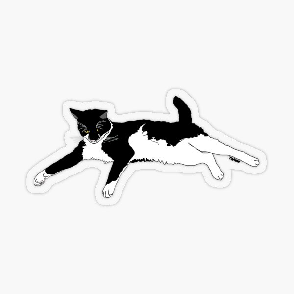 Cute Tuxedo Cat I want to play Transparent Sticker