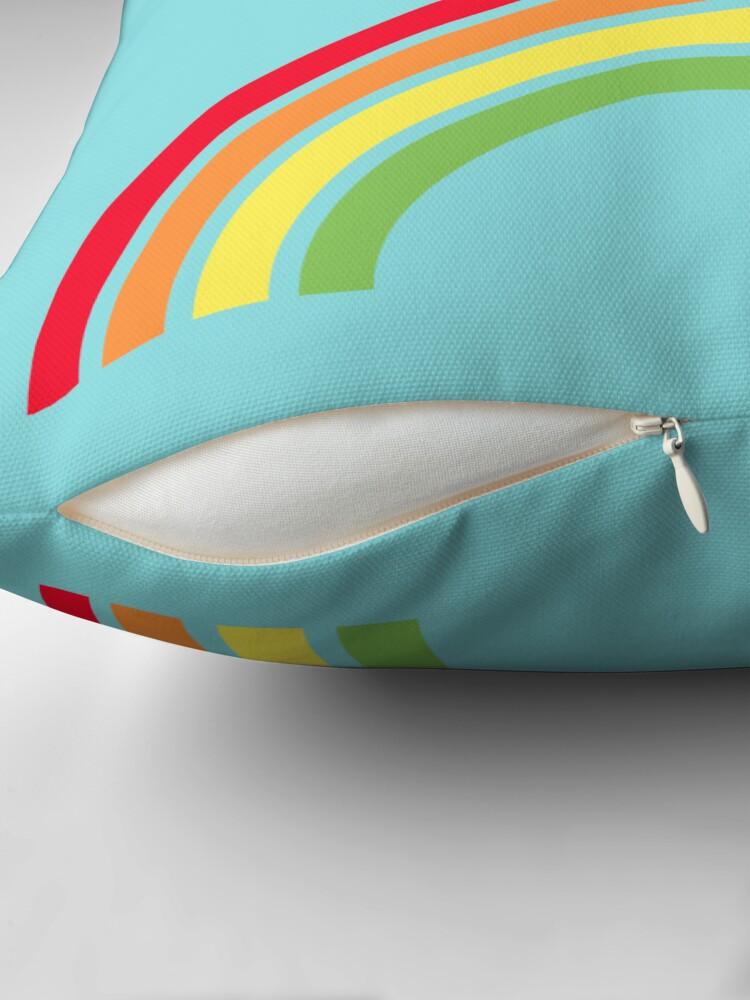 Alternate view of retro rainbow Throw Pillow