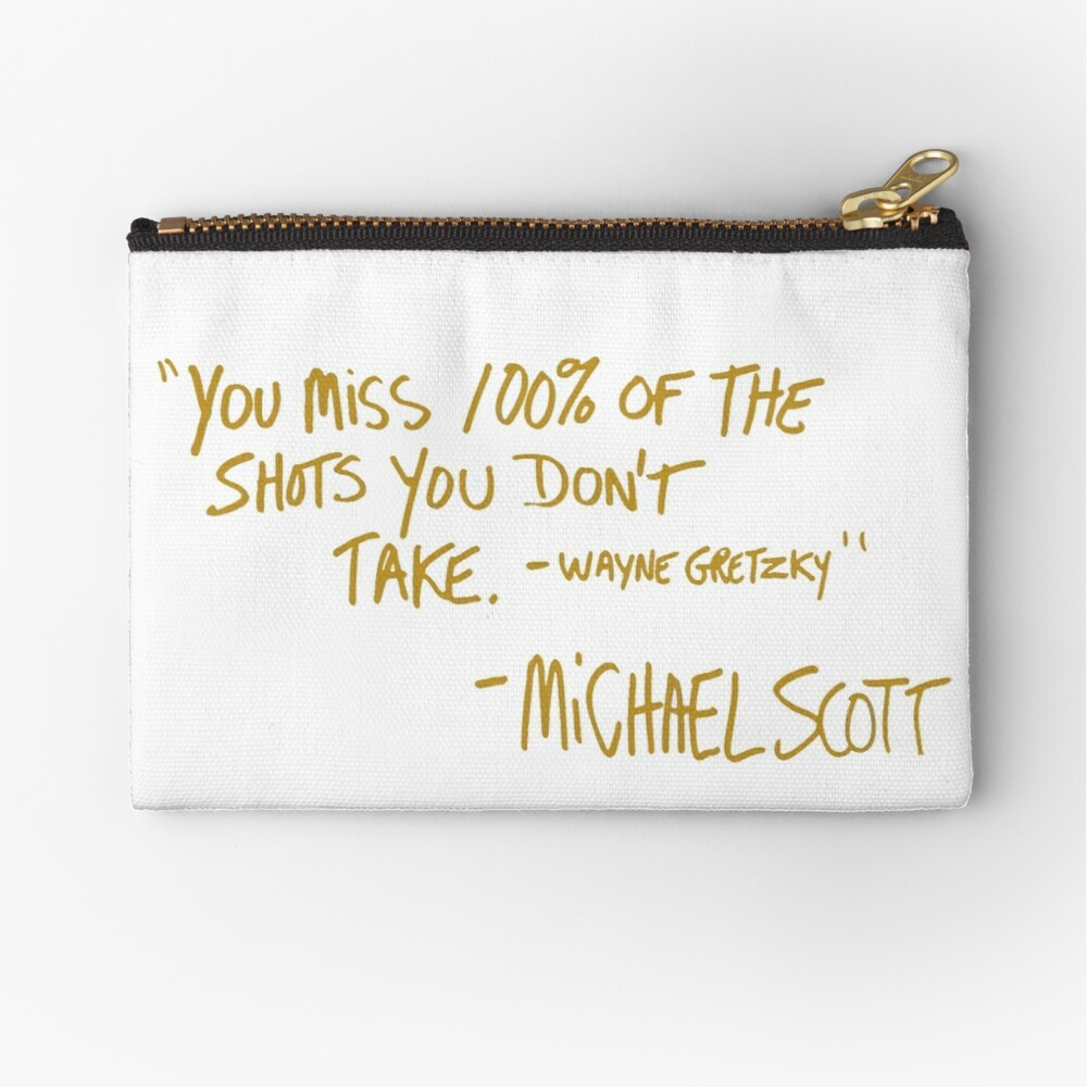 The Office Wayne Gretzky Quote Gold Zipper Pouch