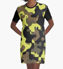 Electric Lemonade Camouflage Pattern Graphic T-Shirt Dress