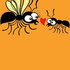 Shy worker ant declaring its love to the queen ant by Zoo-co