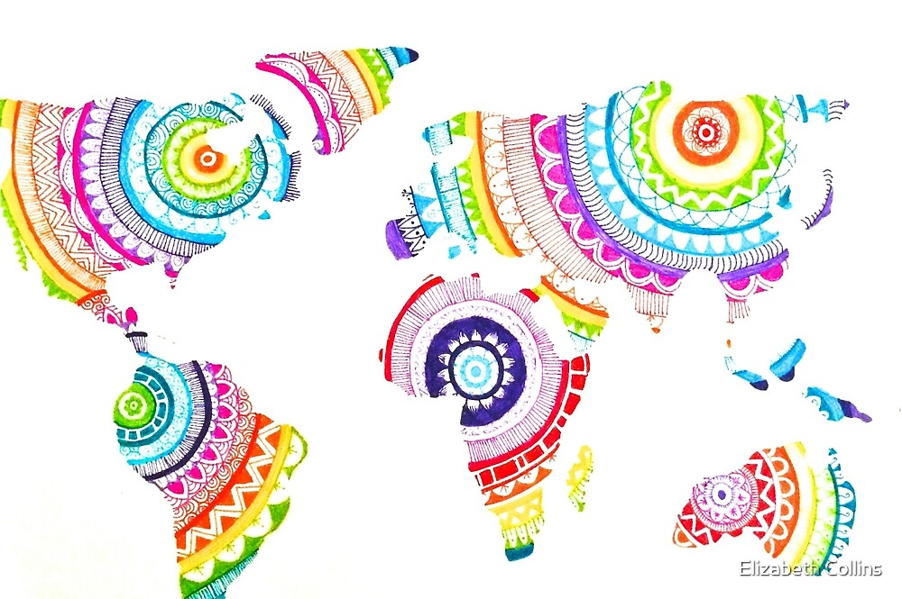 Colorful zentangle world map by ecollinsart redbubble colorful zentangle world map gumiabroncs Images