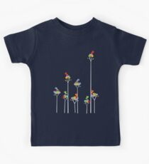 Colorful Tweet Birds On White Branches Kids Tee