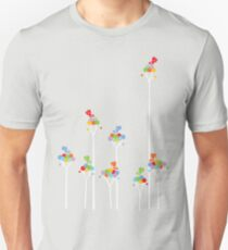 Colorful Tweet Birds On White Branches T-Shirt