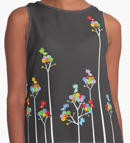 Colorful Tweet Birds On White Branches Contrast Tank