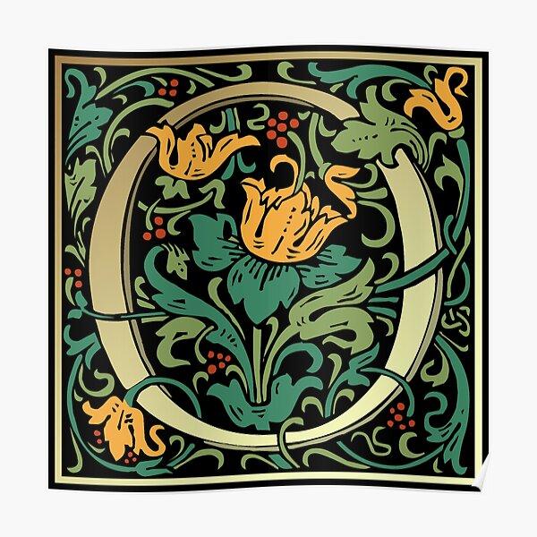 Illuminated Lettering William Morris Black Letter O Poster