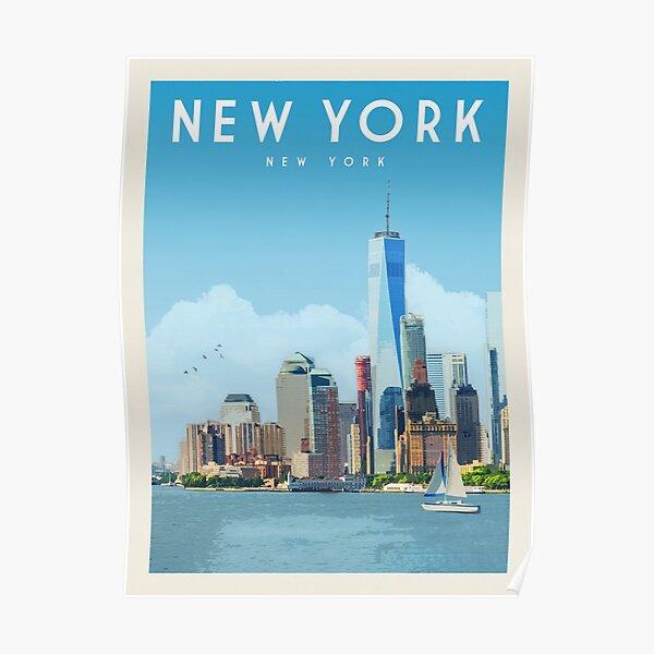 New York City Skyline Vintage Travel Poster • New York City Retro Travel Poster • NYC Travel Poster Poster
