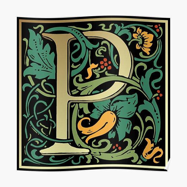 Illuminated Lettering William Morris Black Letter P Poster