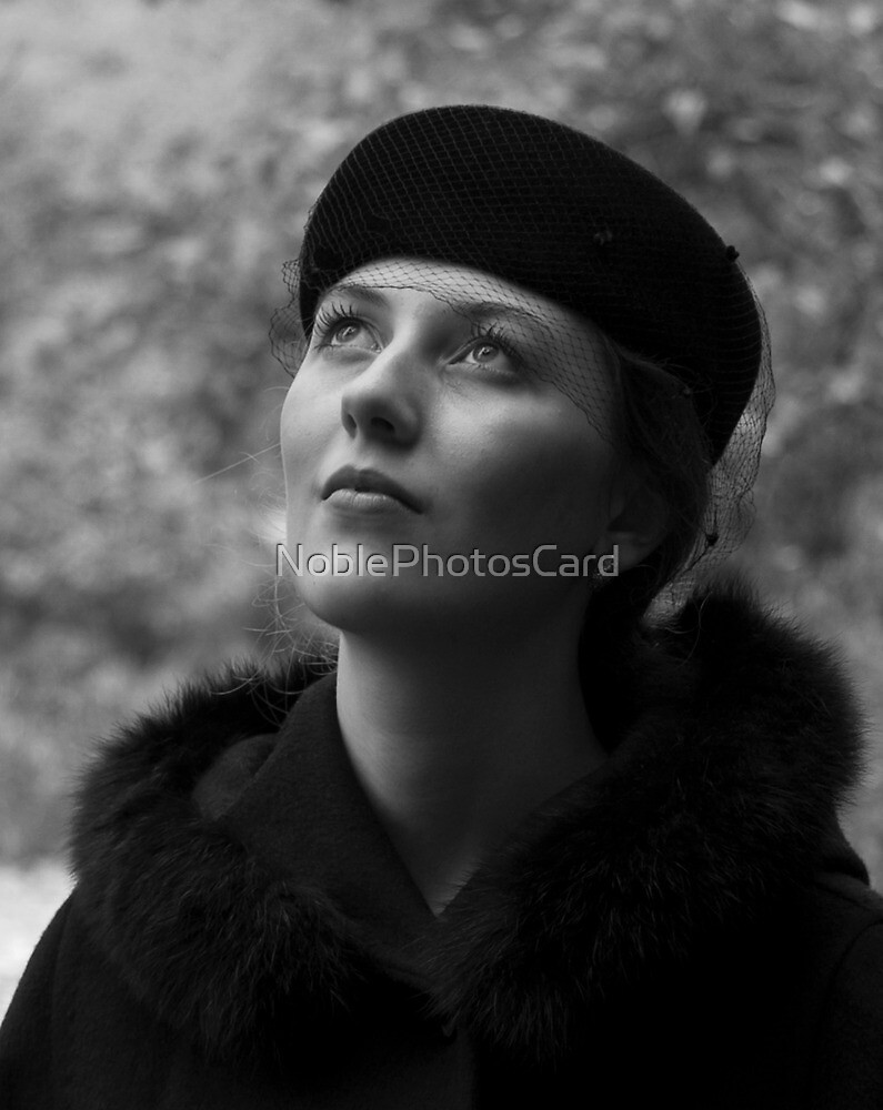 Beautiful Young Woman in Vintage Hat Looking Upwards by NoblePhotosCard