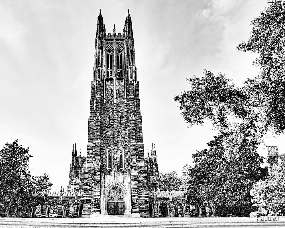 Black and White of Duke Chapel by Kadwell