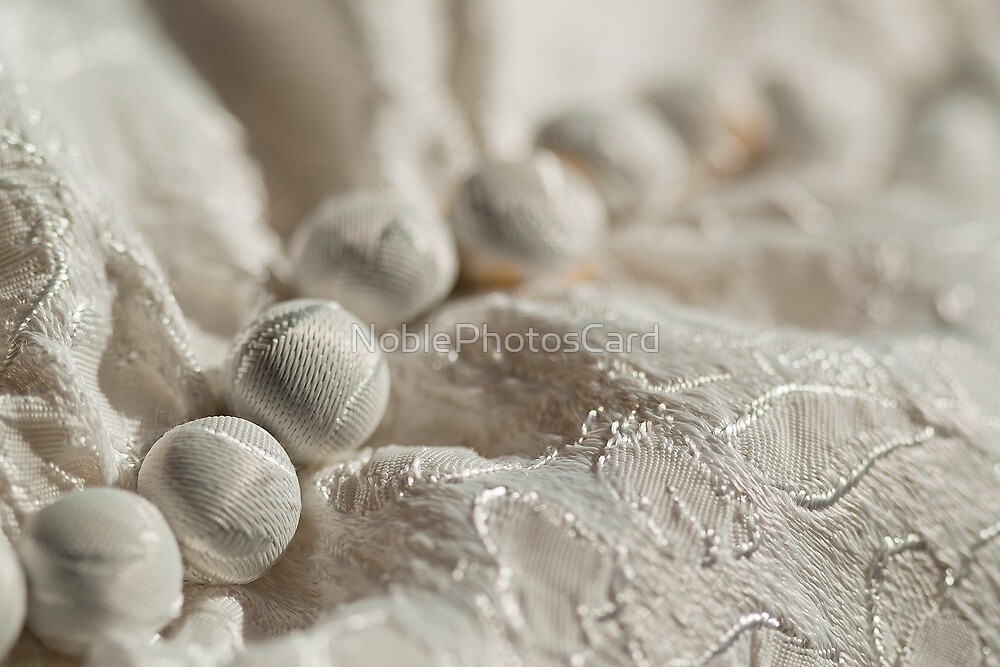 Lacy Buttons on White Vintage Dress by NoblePhotosCard