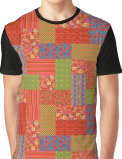 Scarlet Field Poppies Faux Patchwork Graphic T-Shirt