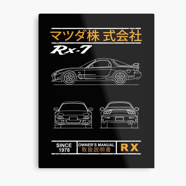 Blueprint of the RX7 Metal Print