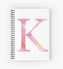 Pink Kappa Watercolor Letter Spiral Notebook