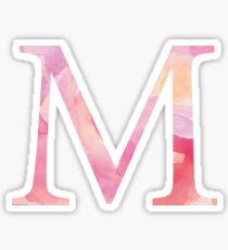 Pink Mu Watercolor Letter Sticker