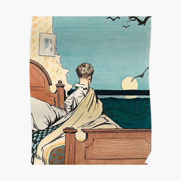 Boy and Moon, by Edward Hopper Poster