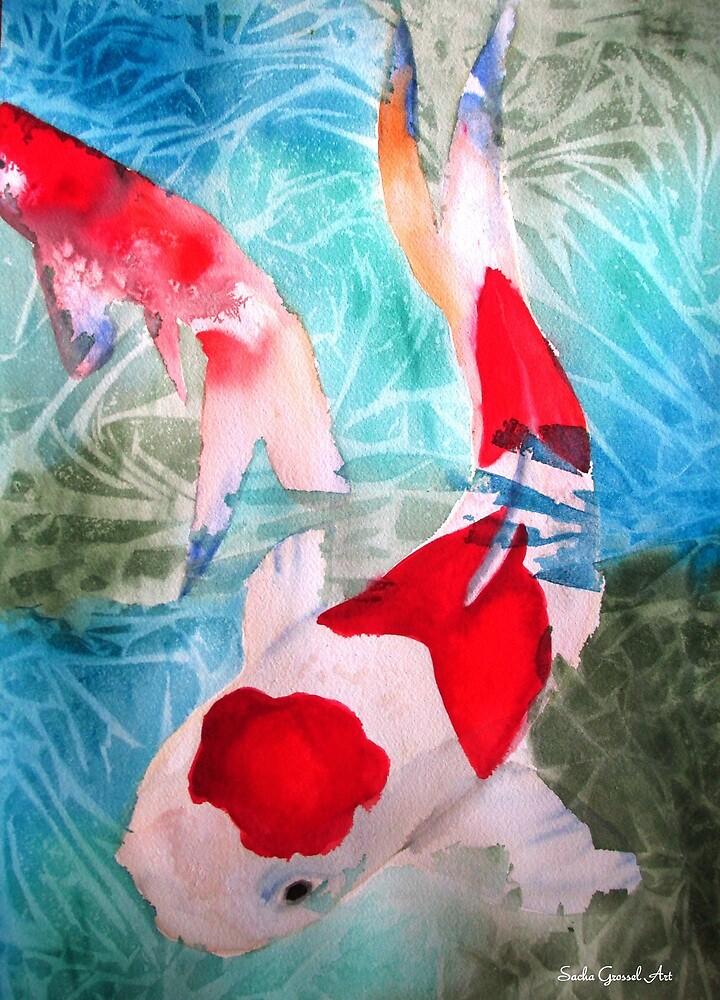 Kohaku Koi 2 Japanese fish art by grosselart