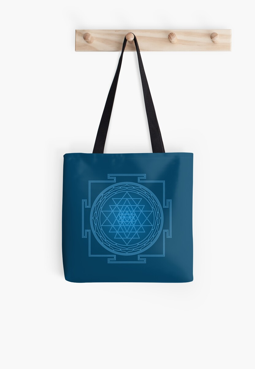 Glowing Sri Chakra Pillow - Blue by Kim  Lynch